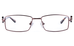 Vista First 8815 Stainless Steel/ZYL  Womens Square Full Rim Optical Glasses for Fashion,Classic,Nose Pads Bifocals