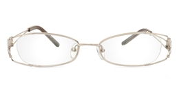 Vista First 1071 Stainless Steel/ZYL Half Rim Womens Optical Glasses for Fashion,Classic,Party,Sport,Nose Pads Bifocals