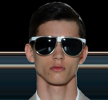 9fcb3f980bee Prada Mens Sunglasses Spring 2013 showing again oversized aviator fashion  with flash tinted mirrored lenses.