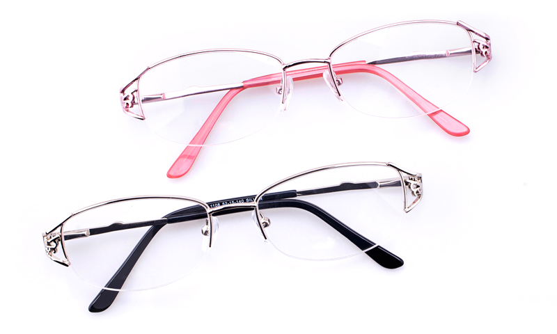 3ce6d5b639 Vista First 1108 Stainless Steel Womens Oval Semi-rimless Optical Glasses (Silver)