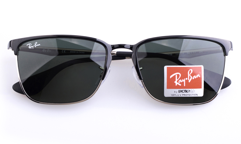 968c6e2014d Ray-Ban RB3508 Stainless steel Mens Square Full Rim Sunglasses (Black~Silver(135 71))