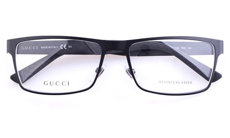 Gucci GG2228 Stainless steel Mens Square Full Rim Optical Glasses(Black)