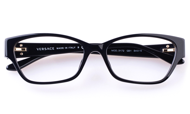 93ad3604aa4f2 Versace VE3172 Acetate Womens Cat eye Full Rim Optical Glasses(Black)