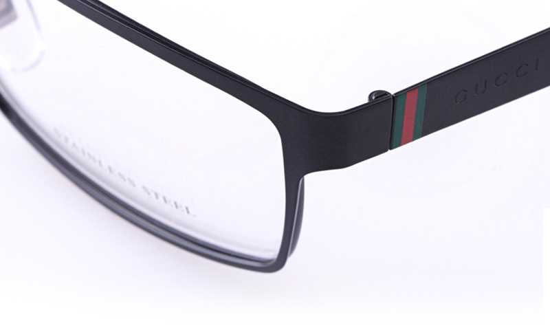 6b3ea37142d Gucci GG2228 Stainless steel Mens Square Full Rim Optical Glasses(Black)