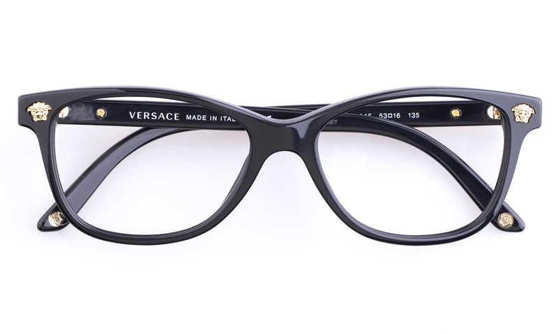 Versace Acetate Womens Oval Full Rim Optical Glasses