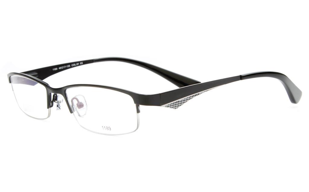 E1189 Stainless Steel Mens&Womens Semi-rimless Square Optical Glasses