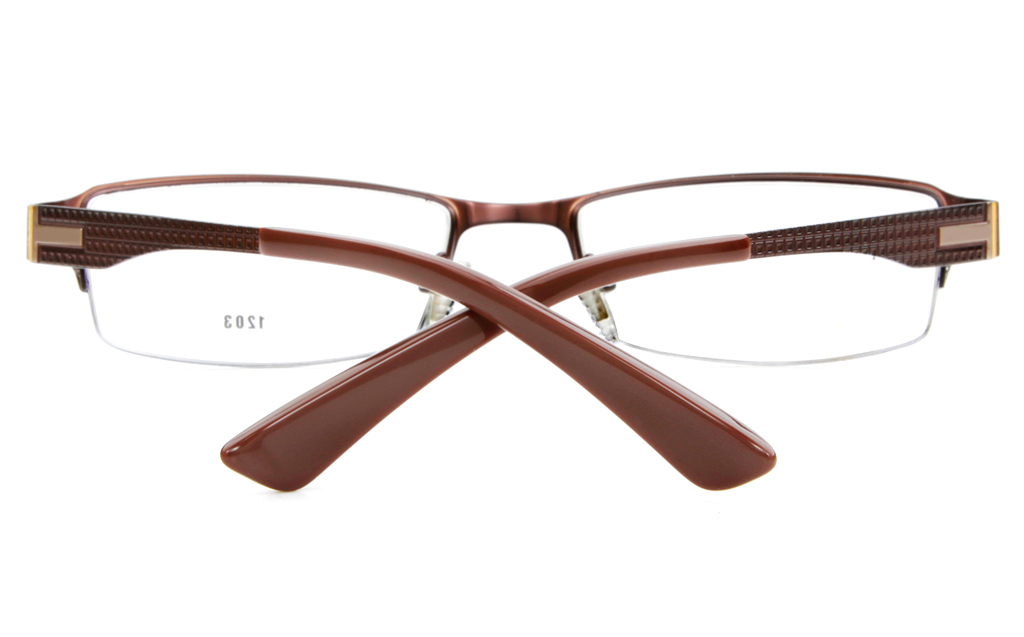 E1203 Stainless Steel Mens&Womens Semi-rimless Square Optical Glasses