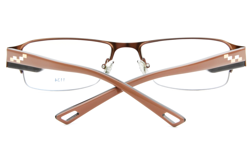 E1134 Stainless Steel/ZYL Mens Semi-rimless Square Optical Glasses