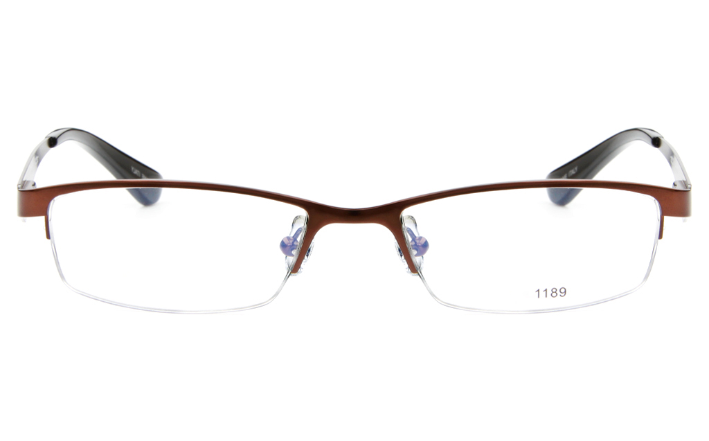 E1189 Stainless Steel Mens&Womens Semi-rimless Square Optical Glasses
