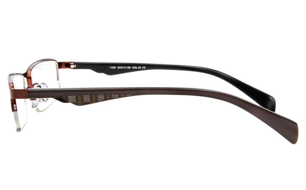 E1190 Stainless Steel/ZYL Mens Semi-rimless Square Optical Glasses