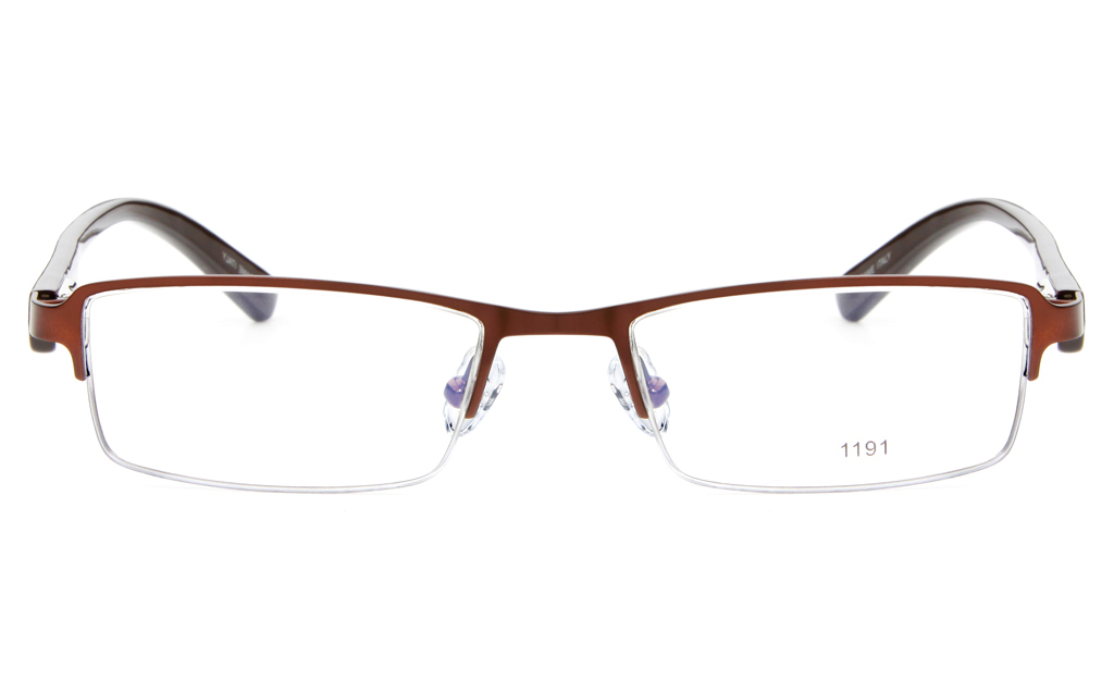 E1191 Stainless Steel/ZYL Mens&Womens Semi-rimless Square Optical Glasses