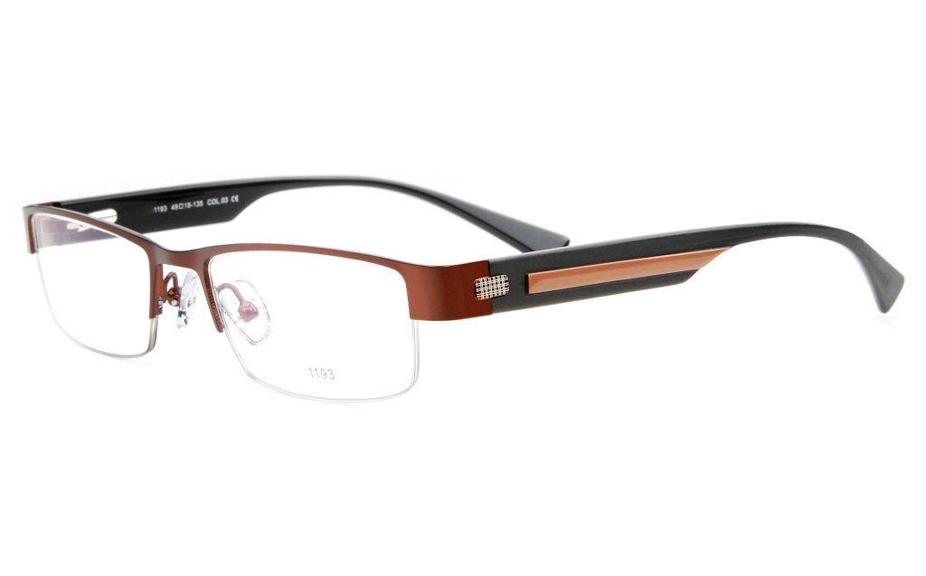 E1193 Stainless Steel/ZYL Mens&Womens Semi-rimless Square Optical Glasses