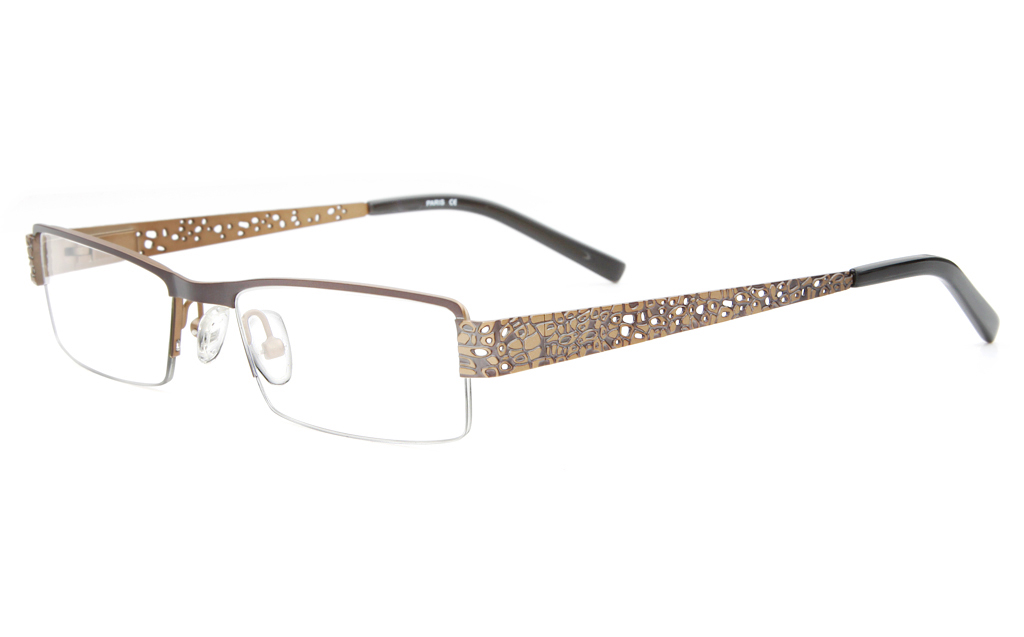 SJ036 Stainless Steel Mens&Womens Semi-rimless Square Optical Glasses