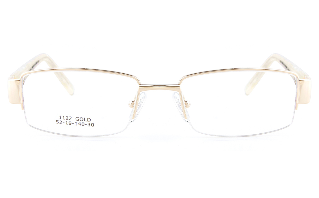 Vista First 1122 Stainless Steel/ZYL  Womens Semi-rimless Optical Glasses - Square Frame