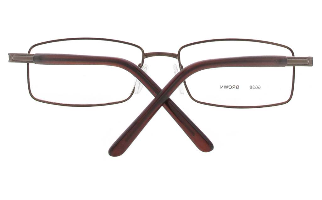 Poesia 6638 Stainless Steel Mens Square Full Rim Optical Glasses