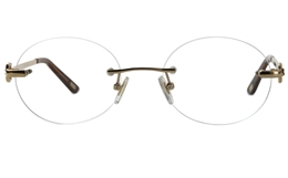 Vista First 8932 Stainless steel/ZYL Womens Rimless Optical Glasses for Fashion,Classic,Nose Pads Bifocals