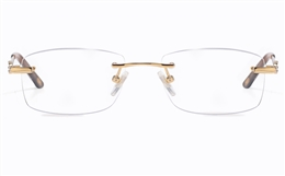 Vista First 8935 Stainless steel/ZYL Womens Rimless Optical Glasses for Fashion,Classic,Nose Pads Bifocals