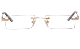 Vista First 8937 Stainless steel/ZYL Womens Rimless Optical Glasses for Fashion,Classic,Nose Pads