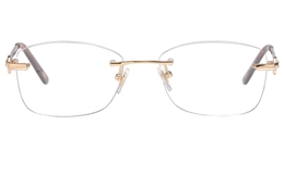 Vista First 8936 Stainless steel/ZYL Womens Rimless Optical Glasses for Fashion,Classic,Nose Pads Bifocals