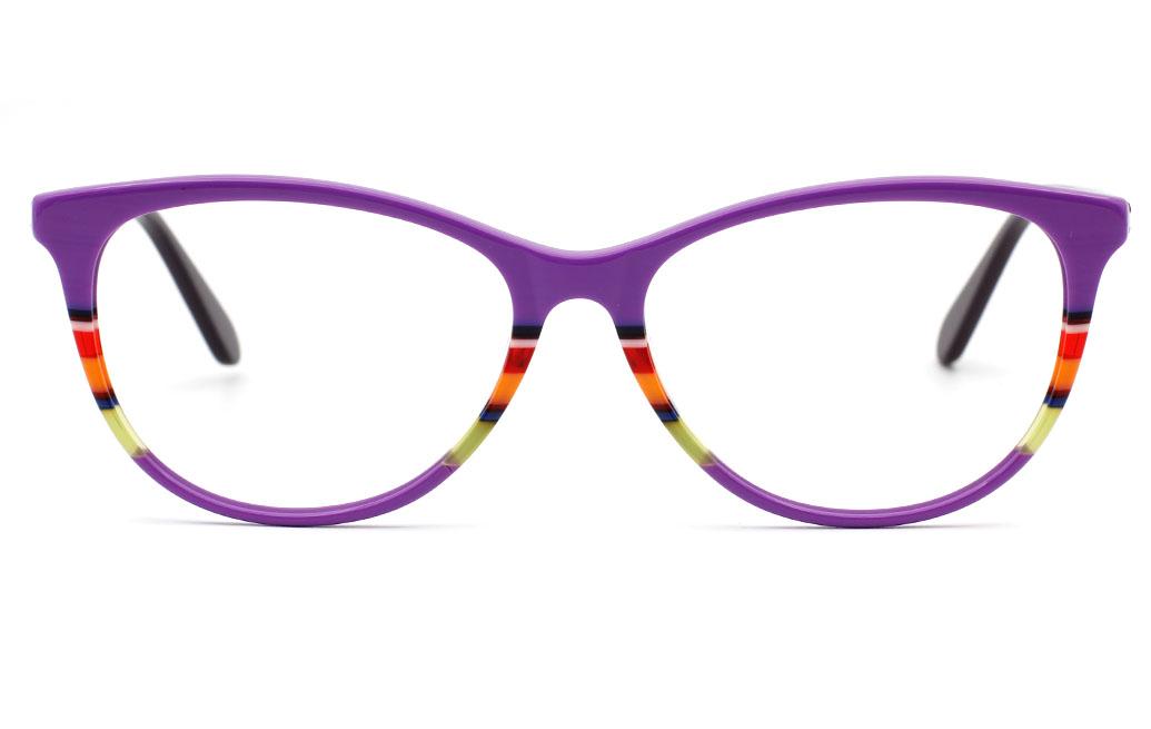 ColorFul Eyeglasses Frames(Purple/Strp)
