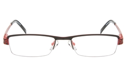 10035 Stainless Steel Womens Semi-rimless Square Optical Glasses for Fashion,Classic,Nose Pads