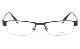 E1193 Stainless Steel/ZYL Mens Womens Semi-rimless Square Optical Glasses for Fashion,Party,Nose Pads Bifocals