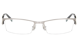 T2008 Stainless Steel/ZYL Mens Womens Semi-rimless Square Optical Glasses for Fashion,Classic,Nose Pads Bifocals