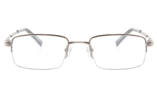 Vista First 2114 Titanium Memory Mens Semi-rimless Square Optical Glasses