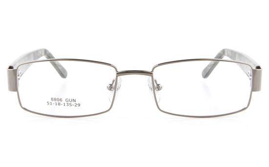 Vista First 8806 Stainless Steel/ZYL  Womens Full Rim Optical Glasses - Oval Frame
