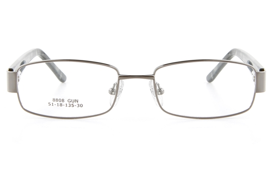 Vista First 8808 Stainless Steel/ZYL  Womens Full Rim Optical Glasses - Oval Frame
