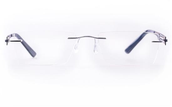 Vista First LT554-1 TITANIUM Mens&Womens Square Rimless Optical Glasses