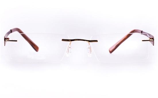 Vista First LT689-1 TITANIUM Mens&Womens Rectangle Rimless Optical Glasses