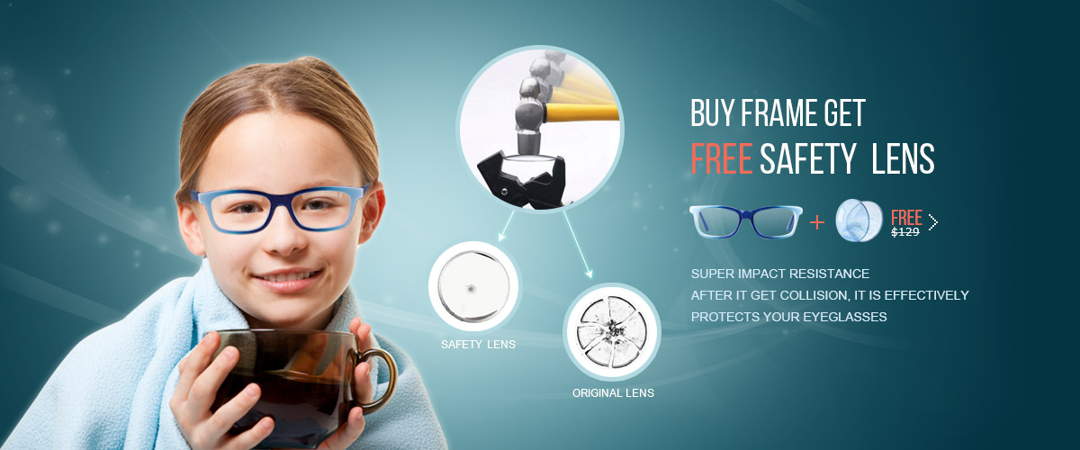 Buy Frame Get Free safety lens at finestglasses.com. 1.59 PC single vision eyeglasses.